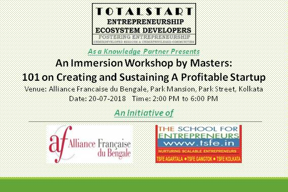 Alliance Francaise du Bengale and TSFE Immersion Workshop 101 on Creating a Sustainable and Profitable Startup
