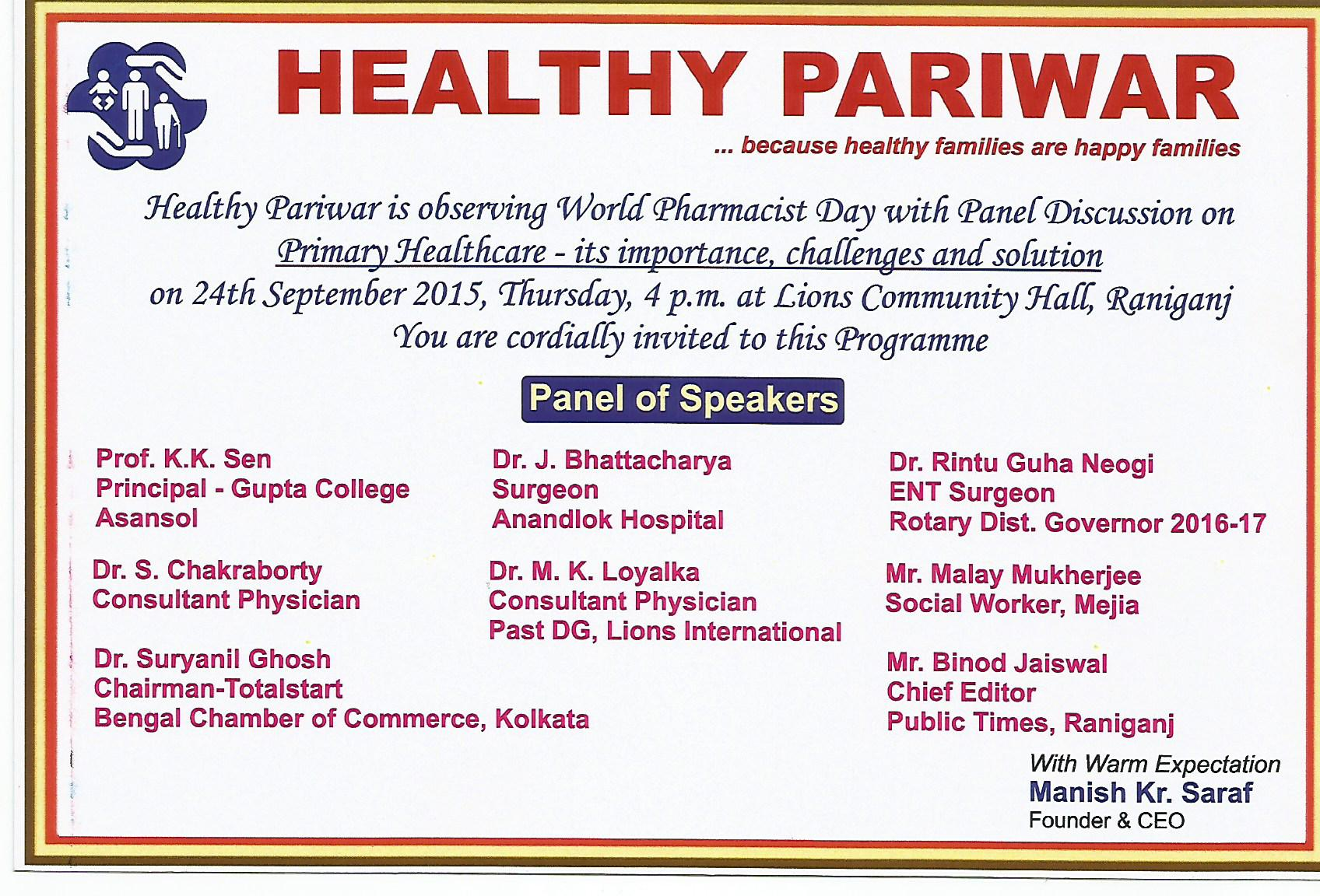Invitation Healthy Pariwar Sep 2015