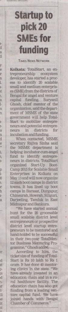 Times of India - 14.05.2015 - TotalStart Bengal District Innovation & Incubation Unit Launch Press Coverage