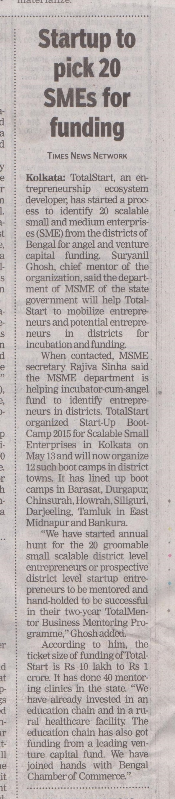 Times Network Coverage of TotalStart Bengal