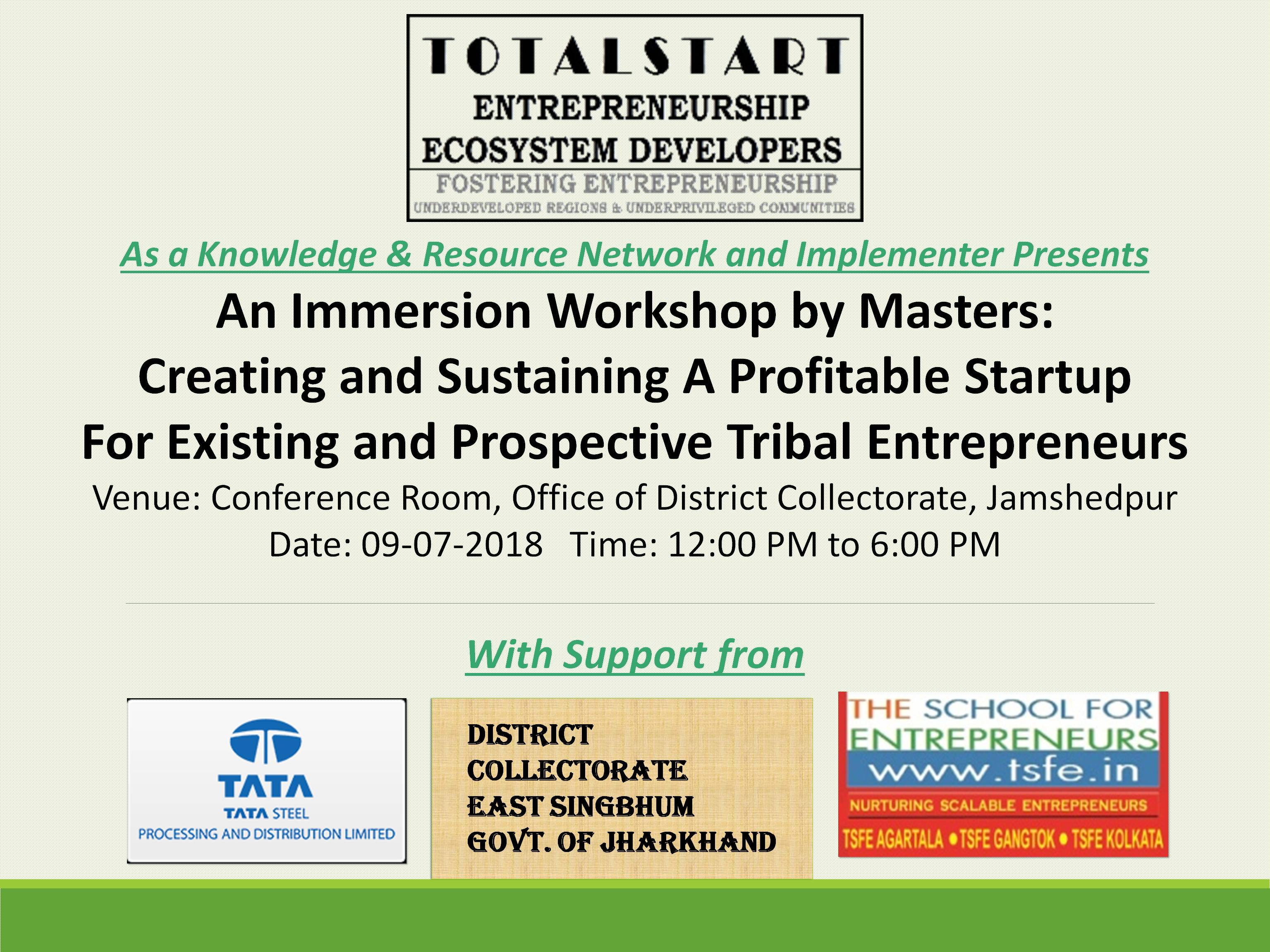 TotalStart's Immersion Workshop on Creating a Sustainable & Profitable Startup for Existing and Prospective Tribal Entrepreneurs v1.1